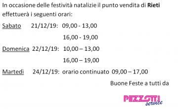 Orari di apertura durante le festività natalizie sede di Rieti!