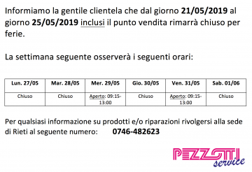 Avviso chiusura straordinaria del punto vendita di Poggio Mirteto!