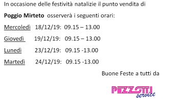 Orari di apertura durante le festività natalizie sede di Poggio Mirteto!